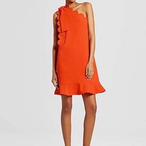 Victoria Beckham Orange Scallop One Shoulder Dress
